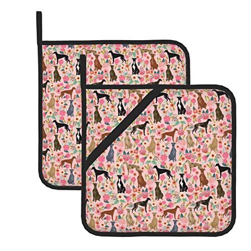 HaiYI-ltd Kitchen Everyday Basic Pot Holder Heat Resistant Coaster Potholder for Cooking and Baking Set of 2,Greyhound Florals Cute Brindle s Cute Dog Best Dogs