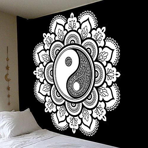 KHKJ Tapiz de Mandala de Pared Celestial para Colgar en la Pared, alfombras de Pared Hippie de Sol y Luna Negros Blancos, decoración de Dormitorio, Tapiz psicodélico A1 200x150cm