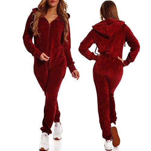 Crazy Age Damen Jumpsuit aus Samt (Nicki, Velvet) Wohlfühlen mit Style. Elegant, Kuschelig, Weich. Overall, Ganzkörperanzug, Jogging - Freizeit Anzug, Onesie (Weinrot, L) - 3