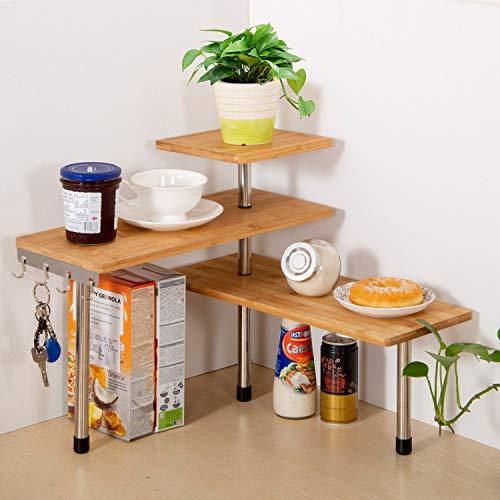 Olive Desktop Organizer Office Küche Eckregal Regal Verstellbar Bambus Lagerregal, freistehendes Display Regal
