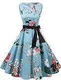 Gardenwed Robe de Soirée Cocktail Vintage Femme Années 40 50 60 Pin up Style Audrey Hepburn Rockabilly Swing Col Rond sans Manche Floral L