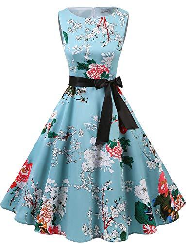 Gardenwed Annata 1950 retrò Rockabilly Polka Vestito da Audery Swing Senza Maniche Abito da Cocktail Partito Floral S