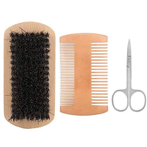 FastUU Ensemble de Soins de la Barbe, 3Pcs Men Beard Hair Brush Scissor Styling Peigne à Barbe avec Brosse Douce et Dure pour Couper Les Sourcils, Barbe (Couleur Bois)