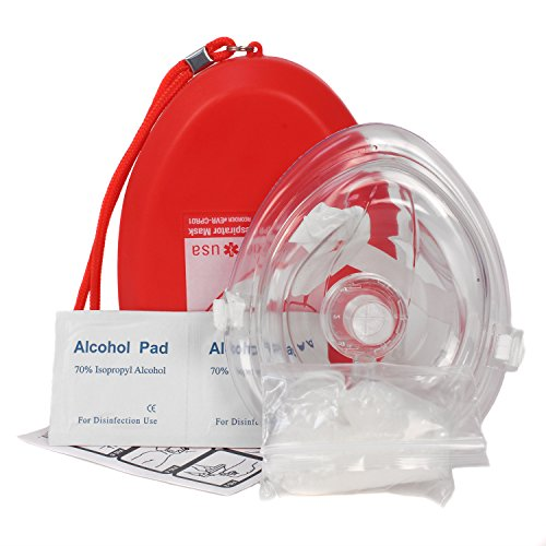 Ever Ready First Aid CPR Rescue Mask Adult/Child Pocket Resuscitator Hard Case with Wrist Strap  Gloves and Wipes