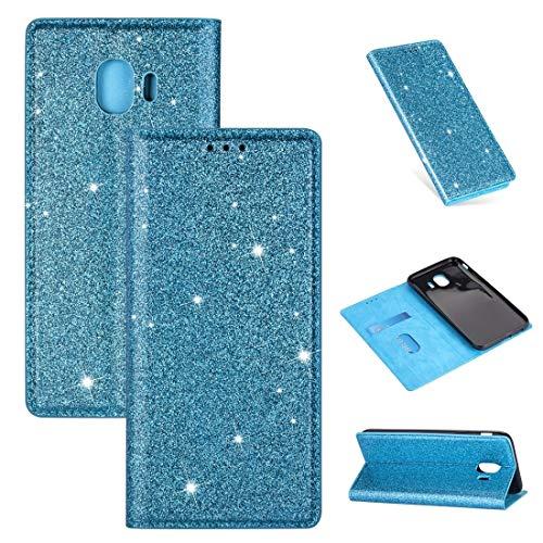 LLJDD - Funda de piel para Samsung Galaxy J4 (2018), diseño de purpurina ultrafina, horizontal, con soporte y ranuras para tarjetas, color azul cielo
