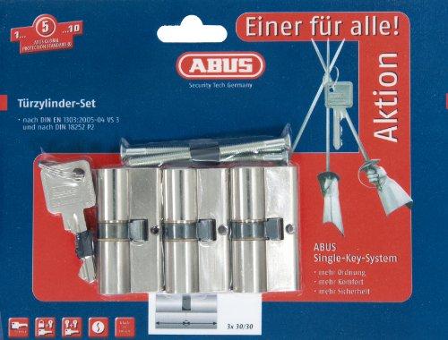 ABUS Profil-Zylinder, Triples Set-3-Stück mit 4 Schlüsseln gleichschließend, 10439
