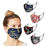 4 Pack Adult Face Masks Reusable Canada Ship - Cloth Face Mask Washable with Adjustable Straps