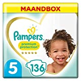 Couches Pampers Taille 5 (11-16kg) - Premium Protection , 136 Couches, Pack 1 Mois