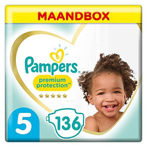 Pampers - Protección Premium - Pañales talla 5 (11-16 kg) - Paquete de 1 mes (x136 pañales)