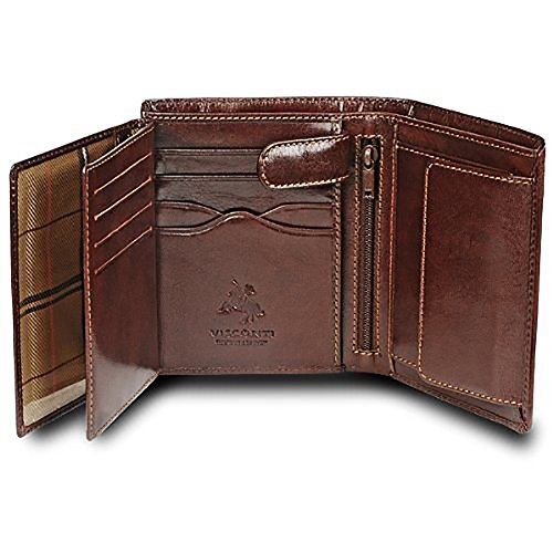Visconti 'MONZA 3' Soft Italian Glazed Quad Fold Wallet (Brown)
