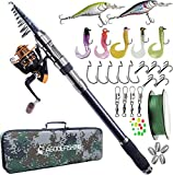 Fishing Rod and Reel Combo, Telescopic Fishing Pole Spinning Reels Fishing Tackle Kit Fishing Carrier Bag Fishing Gear with Fishing Line Lure Swivels Hooks for Sea Saltwater Freshwater Boat Fishing