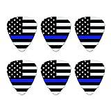 Thin Blue Line American Flag Novelty Guitar Picks Medium Gauge - Set of 6