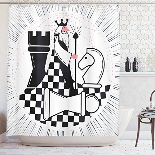 ABAKUHAUS Bordspel Douchegordijn, King and Knight Cartoon, stoffen badkamerdecoratieset met haakjes, 175 x 180 cm, Coral Black and White
