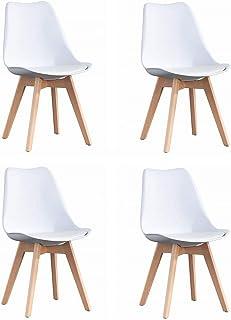 ArtDesign FR Tulip sillas de Comedor Moderno, Juego de 4, Asiento Acolchado Suave, Patas de Madera Maciza de Haya Natural,...