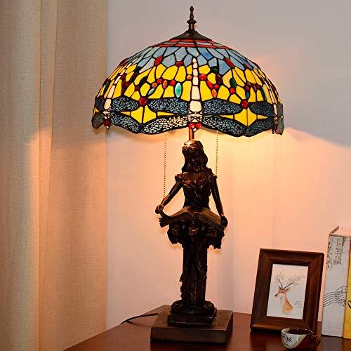 Gal Lámpara de mesa mediterránea azul con diseño de libélula, estilo Tiffany, vitral, para sala de estar, comedor, mesita de noche, luz de 40 x 69 cm