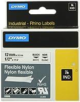 ダイモ RhinoPRO ラベルテープ フレキシブルナイロンテープ カセット 1/2インチ x 6フィート 1枚 白地に黒 (20555)