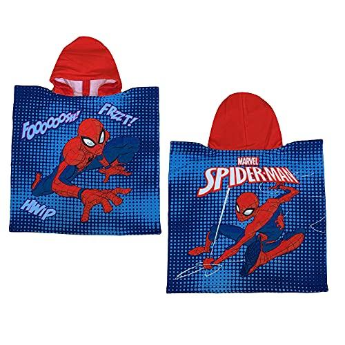 GLOBAL LICENCE SRL Spiderman Marvel Poncho Bademantel Mikrofaser 110 x 55 cm 100 % PL - SPI1565