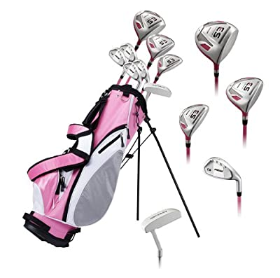 Precise ES Ladies Womens Complete Right Handed Golf Clubs Set Includes Titanium Driver, S.S. Fairway, S.S. Hybrid, S.S. 7-PW Irons, Putter, Stand Bag, 3 H/C's Pink - Choose Size! (Regular Size)