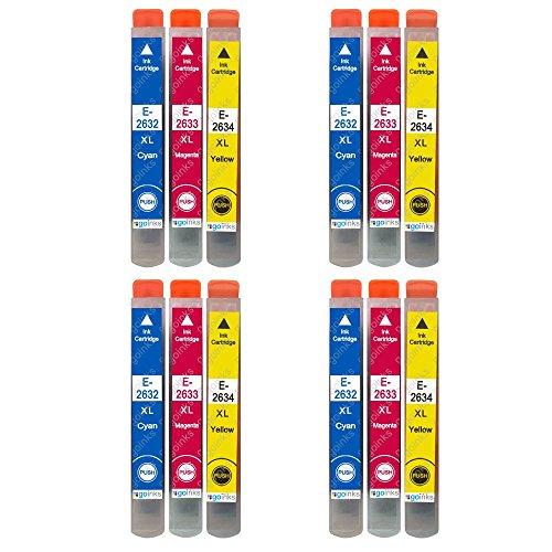 4 GB Inks - Set di 3 cartucce d'inchiostro compatibili con Epson T2636 (26XL Series) (C/M/Y), compatibile con stampanti Epson Expression Premium (12 inchiostro)