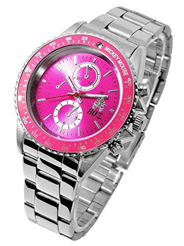 『Disney ディズニー ミッキー 生誕80周年記念 回転 ベゼル 腕時計 ピンク スワロフスキー 世界限定数生産 銀 [時計] [並行輸入品]』のトップ画像
