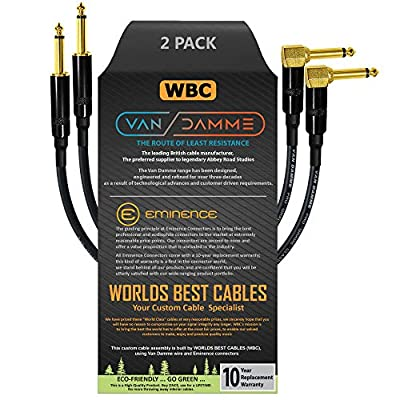 2 Units - 50 CM - Van Damme Pro Grade Classic XKE - Premium Ultra-Flexible Multi-Shielded Guitar Instrument Effects Patch Cable w/Eminence Straight & Angled Gold 6.35mm TS Plugs & Staggered Boots