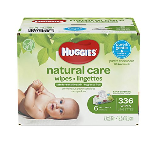 HUGGIES Natural Care Unscented Baby Wipes, Sensitive, Water-Based, 6 Flip-top Packs, 56 Count (Pack of 6)