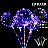 LED Light Up BoBo Balloons Colorful 10 Packs,3 Levels Flashing Handle,20 Inches Bubble Balloon,70cm Stick,Christmas Birthday Party Decoration