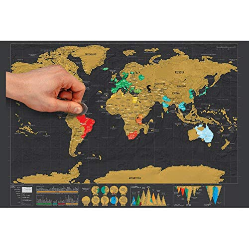 Global Walkabout Scratch Off Map – Deluxe Travel Size World Map Poster – Countries and Facts – Travel Gift