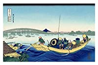 夕焼けにかつしか ほくさい 油絵インテリア アートポスター 絵画 飾り絵 複製名画プレゼント-リビング 、ダイニング 、オフィス 、バー、お風呂、寝室 (40x60cm-16x24インチ,フレームなし)