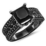 Dazzlingrock Collection 5.00 Carat (ctw) Black Rhodium Plated 10K Black Diamond Bridal Engagement Ring 5 CT, White Gold, Size 7