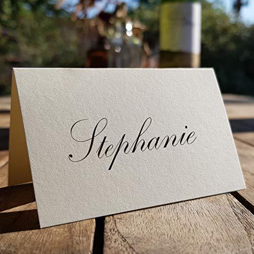 Betterpress 100 Stück neutrale Blanko-Tisch-Platz-Sitz- Karten-Kärtchen,Namens-Schilder- Tisch-Aufsteller (Creme)