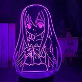 Solo 1 pieza Luz de noche LED Fairy Tail Figura de regalo para habitación de niñas Lámpara de mesa de dormitorio de luz nocturna 3d