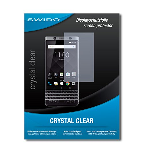 SWIDO Schutzfolie für BlackBerry KeyOne [2 Stück] Kristall-Klar, Hoher Härtegrad, Schutz vor Öl, Staub und Kratzer/Glasfolie, Displayschutz, Displayschutzfolie, Panzerglas-Folie