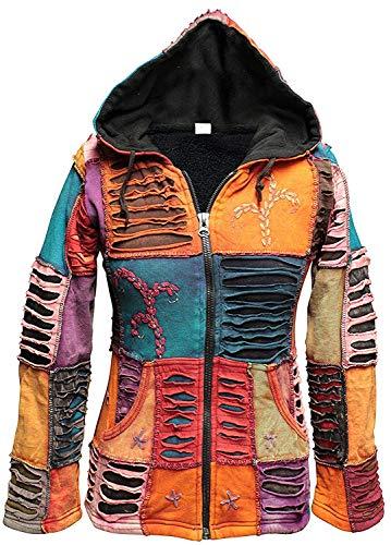 SHOPOHOLIC Fashion - Chaqueta de invierno con parches de forro polar multicolor para mujer