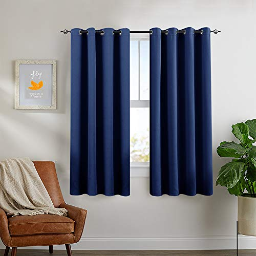 Blackout Window Curtains for Bedroom ROM Darkening Triple Weave Grommets Living Room Window Treatments by 2 Panels 63 Inch Blue