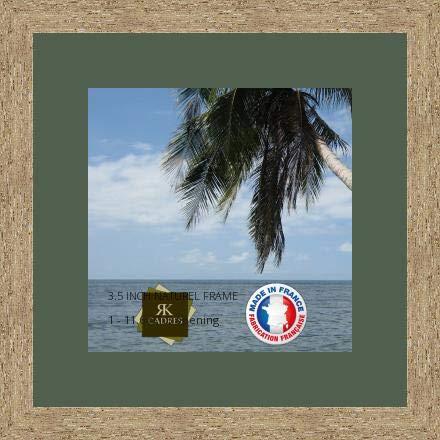 Cadre Photo avec Passe-Partout Vert Foret pour Image 29x29 cm ou 29 x 29 cm Cadre Naturel Beige, 3.5 cm de Largeur, Cadre en Bois