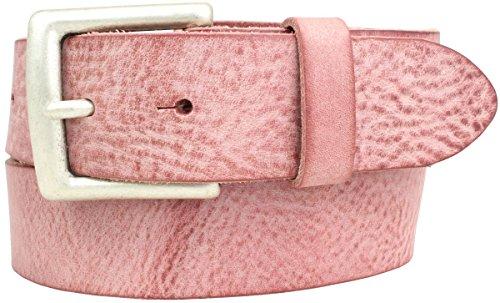 Gürtel aus weichem Vollrindleder Used-Look 4,0 cm | Jeans-Gürtel für Damen Herren 40mm | Ledergürtel Vintage-Look | Altrosa 90cm