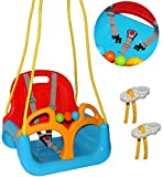 alles-meine.de GmbH Babyschaukel / Gitterschaukel - mitwachsend & umbaubar - mit Gurt -  ROT / GELB / BLAU  - Leichter Einstieg ! - 100 kg belastbar - Kinderschaukel ab 1 Jahre..