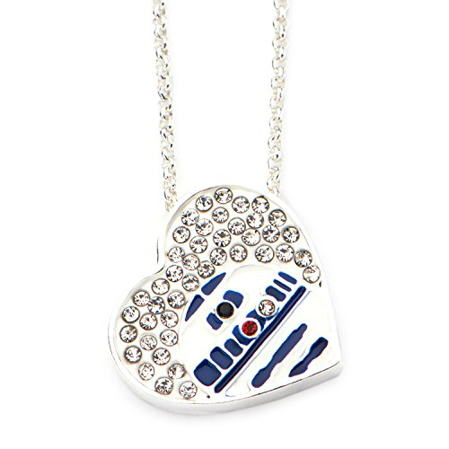 R2-D2 Crystal Heart Necklace, star wars necklace, star wars necklaces