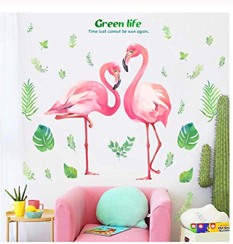 Pink Romantic Flamingo Wall Stickers, Home Decor Living Room Green Life Wall Art Diy Modern Wall Decals Sala De Estar Dormitorio