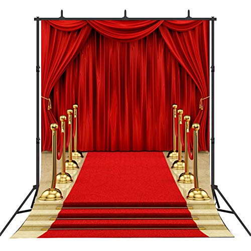 Sensfun Red Carpet Curtain Backdrop for Photography Hollywood Theme Party Background Vinyl Red Gold Stage Backdrops for Royal Prom Wedding Birthday Xmas Event Decoration Photo Booth Studio Props 5X7ft