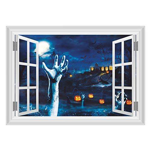 Akaide Aufkleber für Fenster, Glas, Vinyl, Halloween-Tapete, 3D-Türaufkleber, gruseliger Kürbis-Geist, selbstklebend