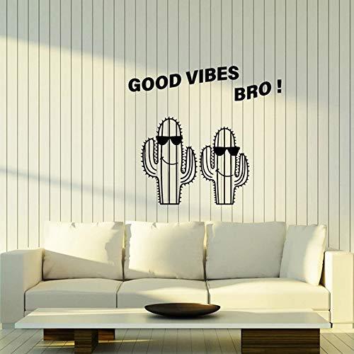 guijiumai Rockmusik Vinyl Wandtattoo Junge Zimmer Kakteen In Sonnenbrille Positive Gute Stimmung Bro Wandaufkleber Dekor Wohnzimmer Mode57X62CM