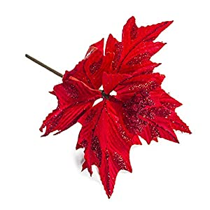 Nuxn 6pcs Silk Poinsettias Artificial Christmas Flowers Glitter Poinsettia Christmas Tree Ornaments Artificial Wedding Christmas Tree Flower Wreath Decorations Picks Red