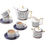 ZQJKL Juego de Café de Porcelana Juegos de Tazas y Platos de Té Juego De Tazas de Café Servicio de Té con Azucarero...