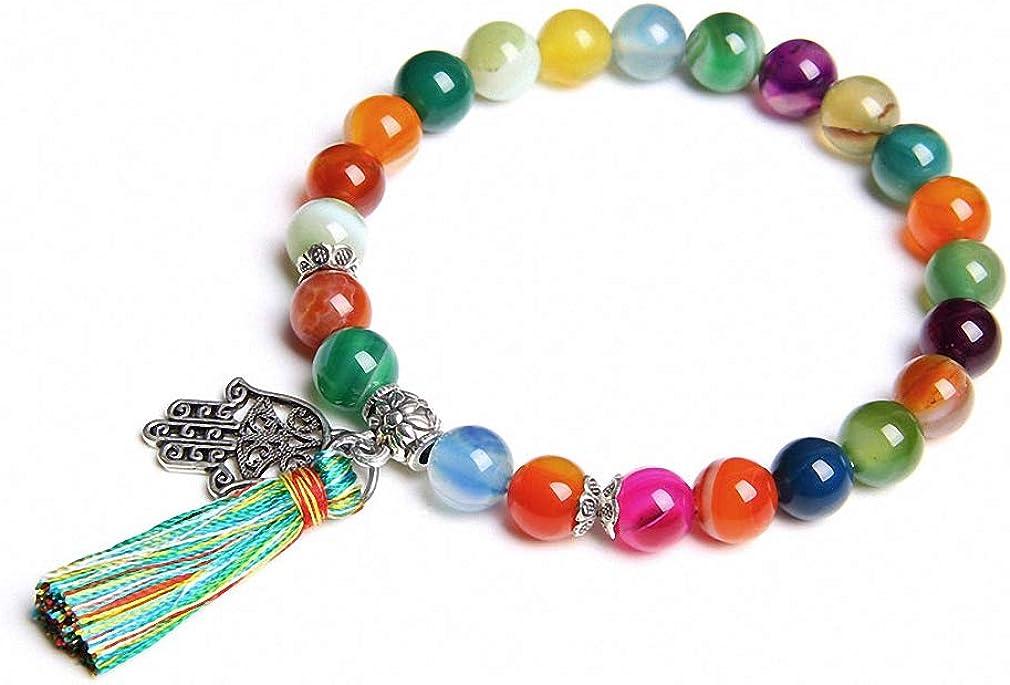 Charm Bracelets Natural Stone Bracelets Women Hand of Fatima Hand Charm Bracelet for Girls Tassel Bracelet Jewelry