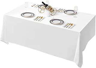 Surmente 90 x 132-Inch Rectangular Polyester Tablecloth for Weddings, Banquets, or Restaurants (White) …