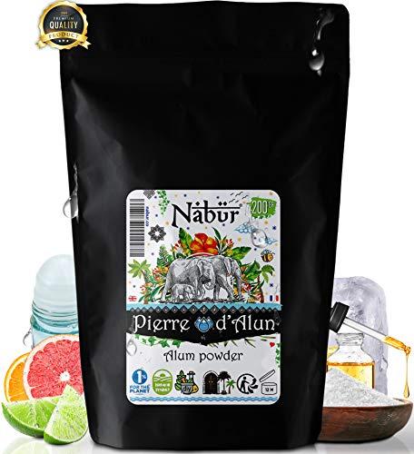 Nabür - Poudre d'Alun 200 Gr | Poudre de pierre d'Alun Naturelle - 100% Potassium Alum, sel d'alun | Déodorant DIY, Purification