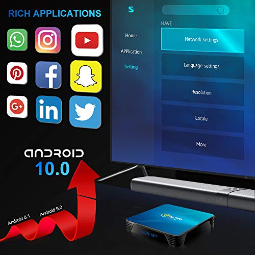Android 10.0 TV-Box, QPLOVE Q8 Android TV Box 4 GB RAM 32 GB ROM RK3318 Quad Core Unterstützung 4K 3D Dual Band WiFi 2.4G/5G USB 3.0 Bluetooth 4.0 H.265 Smart TV Box
