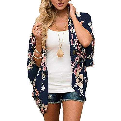 ECOMBOS Damen Florale Kimono Cardigan - Chiffon Tops Cardigan Bluse Shawl Sommer Beachwear Cover up Leichte Boho Strand Jacke (Marine, L)